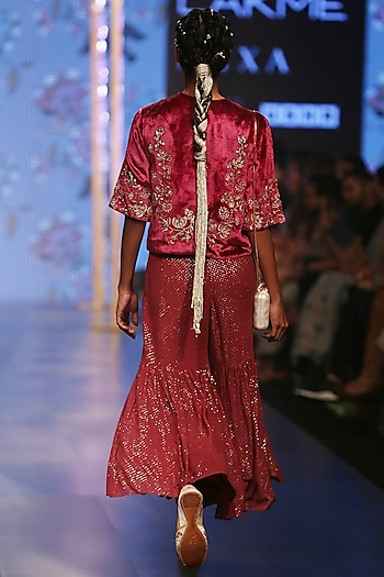 Cranberry Embroidered Kurta With Sharara Pants by Payal Singhal