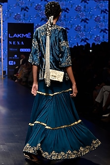 Ocean Teal Embroidered Kurta With Sharara Pants by Payal Singhal