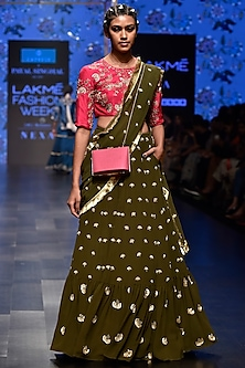 Hot Pink & Olive Green Embroidered Drape Lehenga Set by Payal Singhal