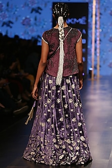 Midnight Blue Embroidered Lehenga Skirt With Purple Blouse by Payal Singhal