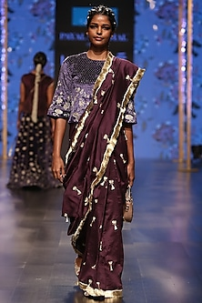 Midnight Blue & Purple Embroidered Saree Set by Payal Singhal