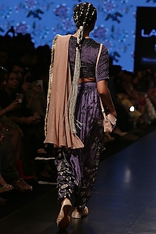 Midnight Blue Embroidered Blouse With Pants & Attached Dusky Rose Dupatta by Payal Singhal
