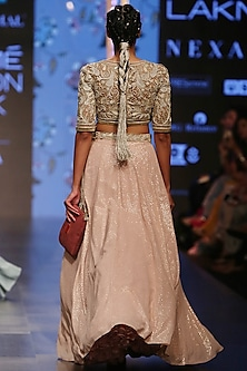 Dusky Rose Embroidered Lehenga Skirt With Blouse by Payal Singhal