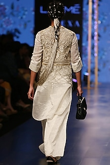Ivory Embroidered Jacket With Nude Palazzo, Kurta & Bustier by Payal Singhal
