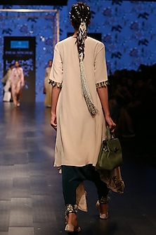 Nude Embroidered Kurta With Ocean Teal Low Crotch Pants by Payal Singhal