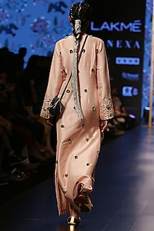 Dusky Rose Embroidered Long Kaftan by Payal Singhal