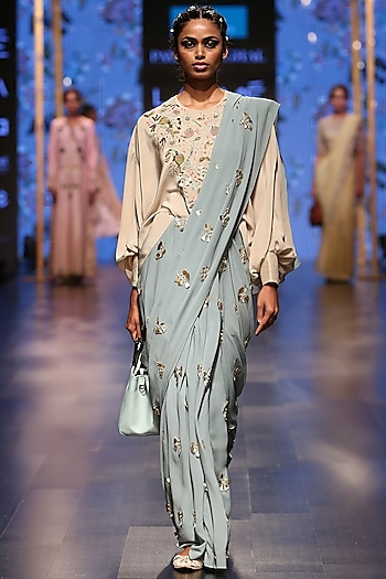 Nude & Periwinkle Blue Saree Set by Payal Singhal