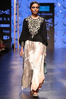 Black Embroidered Top With Nude Palazzo Pants by Payal Singhal