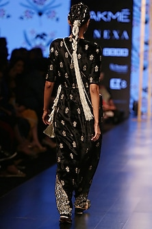 Black Embroidered Velvet Jumpsuit by Payal Singhal