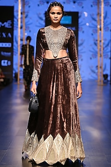 Forest Green Embroidered Blouse With Lehenga Skirt by Payal Singhal