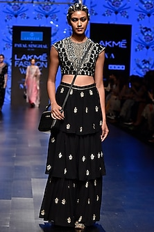 Black Embroidered Blouse With Sharara Pants by Payal Singhal