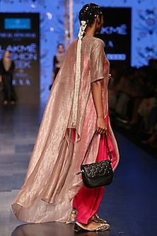 Mouse Grey & Hot Pink Embroidered Kurta Set by Payal Singhal