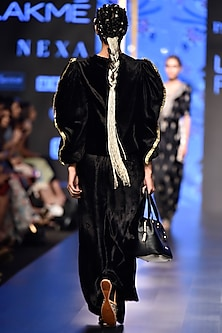 Black Embroidered Velvet Top With Palazzo Pants by Payal Singhal