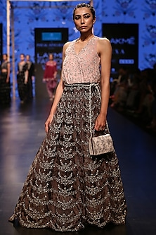 Dusky Pink Embroidered Top With Forest Green Lehenga Skirt & Belt by Payal Singhal