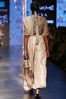 Nude Embroidered Blouse With Skirt Palazzo & Dupatta by Payal Singhal