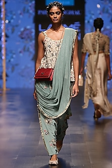 Nude Embroidered Blouse & Periwinkle Blue Low Crotch Pants With Attached Dupatta by Payal Singhal