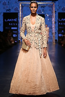 Blush Embroidered Jacket With Bustier & Lehenga Skirt by Payal Singhal