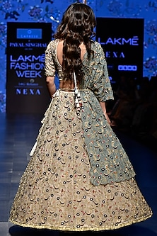 Nude & Periwinkle Blue Lehenga Set by Payal Singhal