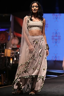 Grey Embroidered Bustier With Skirt Palazzo & Blush Pink Dupatta by Payal Singhal