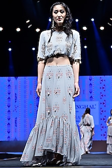 Grey Embroidered & Printed Balloon Top With Lehenga Skirt by Payal Singhal