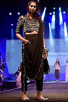 Rose Pink Embroidered Crop Top With Bustier, Black Pants & Attached Drape Dupatta by Payal Singhal
