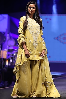 Lime Green Embroidered High-Low Kurta Set by Payal Singhal
