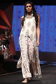 Cream Embroidered & Printed High-Low Top With Palazzo Pants by Payal Singhal