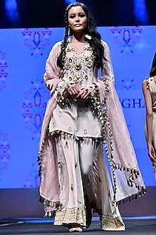Stone & Rose Pink Embroidered Sharara Set by Payal Singhal