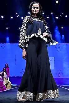 Black Embroidered Kaftan Top With Sharara Pants by Payal Singhal
