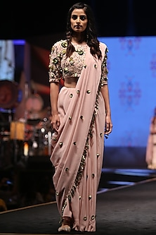 Rose Pink Embroidered Saree Set by Payal Singhal