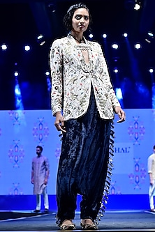 Stone Embroidered Jacket With Navy Blue Tasseled Pants by Payal Singhal