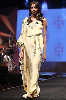 Pale Lime Green One Sided Kaftan With Belt by Payal Singhal