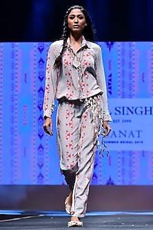 Grey Ikat Stripe Printed Jumpsuit by Payal Singhal