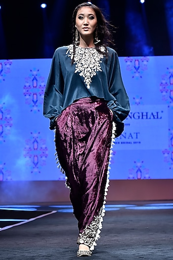 Emerald Green Embroidered Kaftan Top With Purple Tassel Pants by Payal Singhal