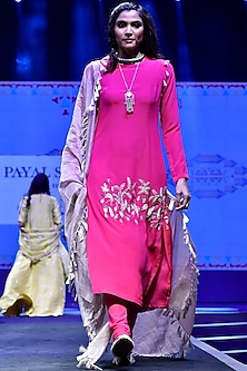 Hot Pink Embroidered Kurta Set by Payal Singhal