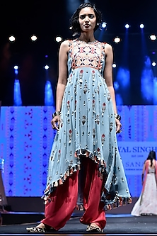 Periwinkle Blue Embroidered Kurta With Cranberry Salwar Pants by Payal Singhal