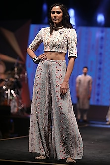 Cream Embroidered & Printed Blouse With Palazzo Pants by Payal Singhal