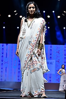 Cream Embroidered & Printed Saree Set by Payal Singhal