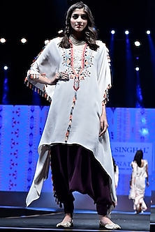 Stone Embroidered Kaftan With Purple Low Crotch Pants by Payal Singhal
