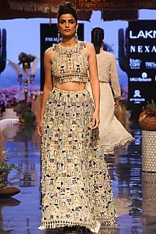 Multi Colored Embroidered Blouse With Periwinkle Blue Lehenga Skirt by Payal Singhal
