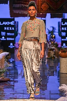Grey Embroidered Crop Top With Salwar Pants by Payal Singhal