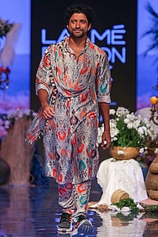 Multi Colored Printed Kurta Set by Payal Singhal Men