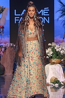 Multi Colored Embroidered Bomber Jacket Lehenga Set by Payal Singhal