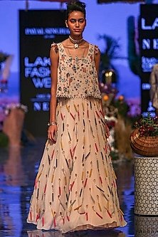 Multi Colored Embroidered Top With Lehenga Skirt by Payal Singhal