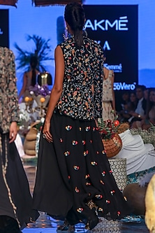 Black Embroidered Half Jacket With Drape & Skirt by Payal Singhal