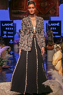 Black Embroidered Bomber Jacket With Bustier & Sharara Pants by Payal Singhal