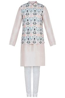 Cream printed bandi jacket with kurta and churidar pants by Payal Singhal Men