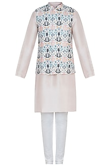 Cream printed bandi jacket with kurta and churidar pants by Payal Singhal Men