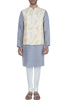 Lemon printed bandi jacket with kurta and churidar pants by Payal Singhal Men