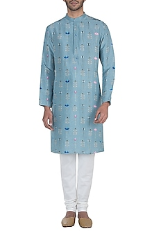 Blue printed kurta with off white churidar pants by Payal Singhal Men